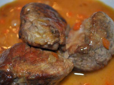 Puntas de lomo en salsa